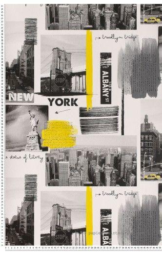 New York gris et jaune - Papier peint Lutèce