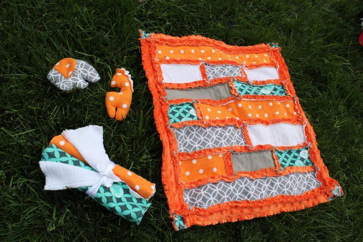 Orange and Turquise Baby Gift Set by BabyBazerk on Etsy