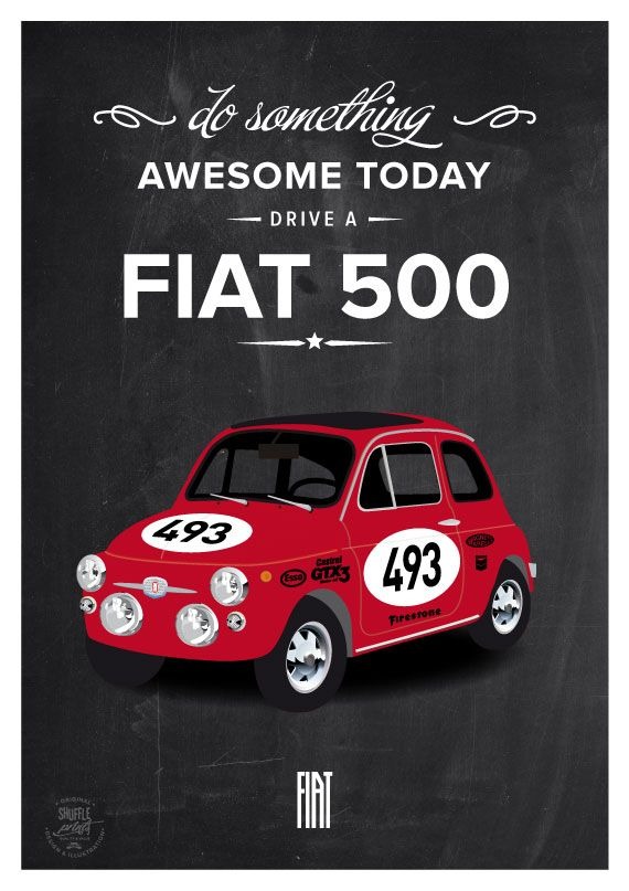 Fiat 500 rally - italian icon car vintage fine art poster - classic car white quote inspirational 70s