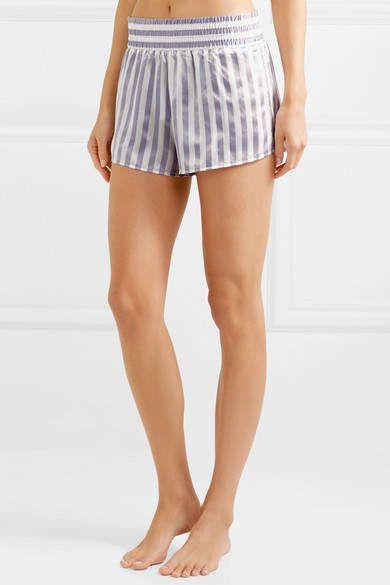Amanda Fatherazi Morgan Lane Corey Appliquéd Striped Silk-charmeuse Pajama  Shorts - Lilac 996fb74f3