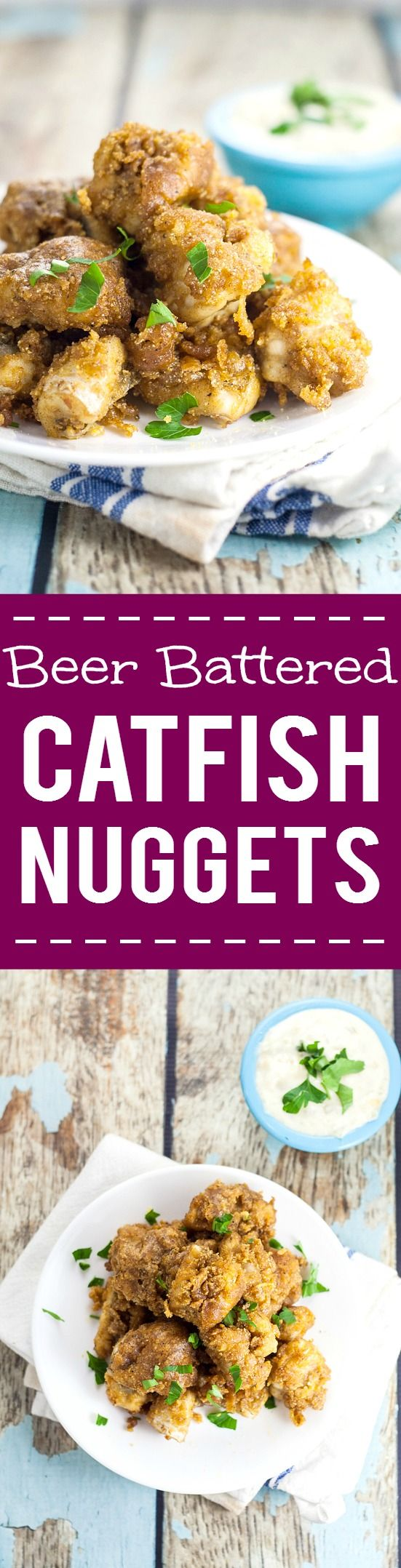Beer Battered, deep Fried Catfish Nuggets recipe - In just 30 minutes, you can have these golden and crispy, bite-sized deep fried Catfish Nuggets for a delicious, quick and easy family dinner recipe. YUM!