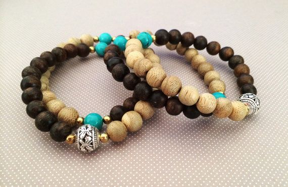 Vietnamese Agarwood and Turquoise Bracelet-The by Grandawood