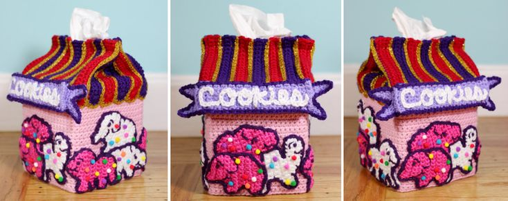 Animal Cookie Tissue Box Cozy I made for the Sugar High Club art show at Ink & Pistons in Florida!