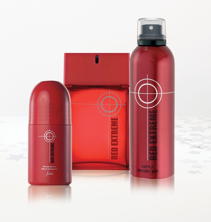 1. Red Extreme Anti-perspirant Roll-on Deodorant 75 ml Regular Price R59 2. Red Extreme Cologne 100 ml Code 4400 Regular Price R385 3. Red Extreme Spray Deodorant 225 ml Code 4424 For More Information - http://www.justine.co.za/PRSuite/home_page.page