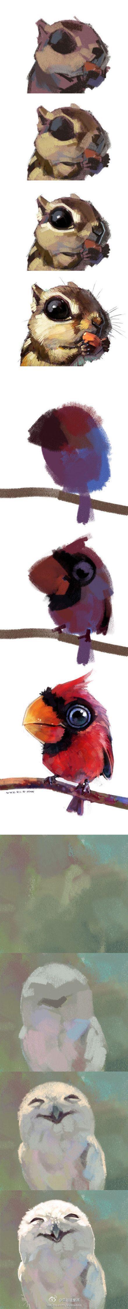 二阶段简单步骤~ Lovely little animals in progressional states of completion.