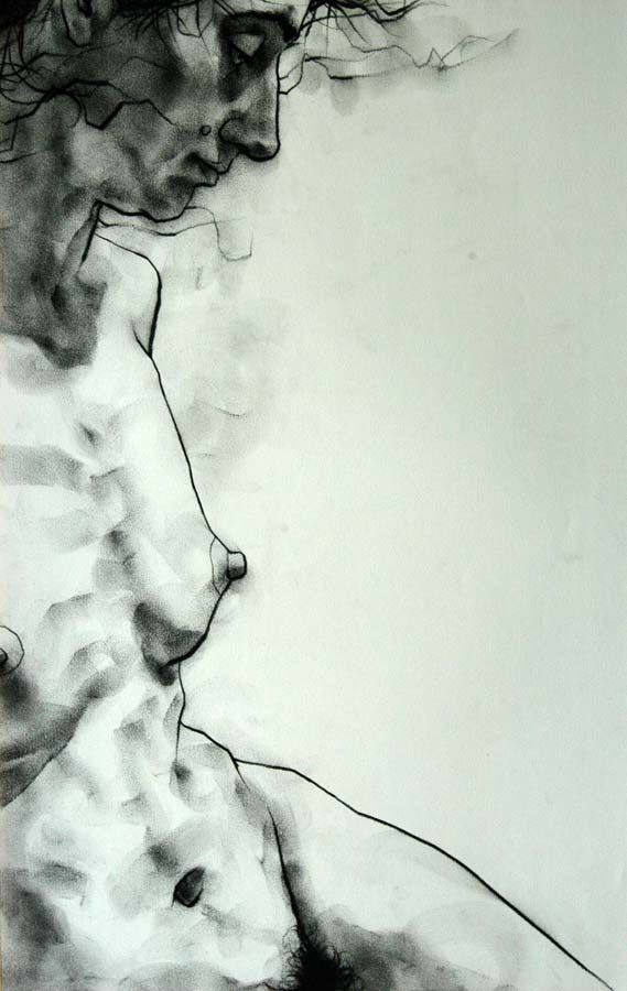 - charcoal on paper (20 minute pose). By Phillip Dvorak