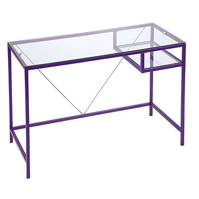 Purple Gl Desk At Lots Home Pinterest Black And Pink