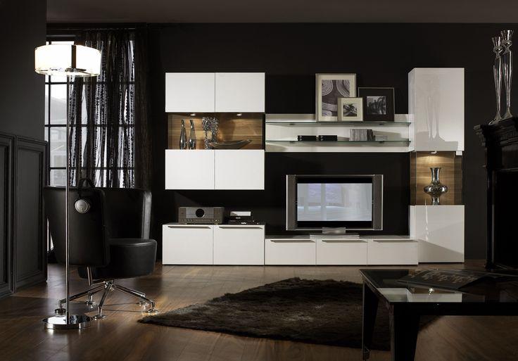 Vetro 04 Modern Wall Unit For Living Room Entertainment