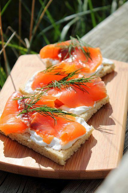 Smoked salmon sandwiches.