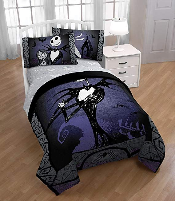 Disney Nightmare Before Christmas Meant To Be Full Queen Comforter Super S Nightmare Before Christmas Bedding Christmas Decorations Bedroom Christmas Bedroom