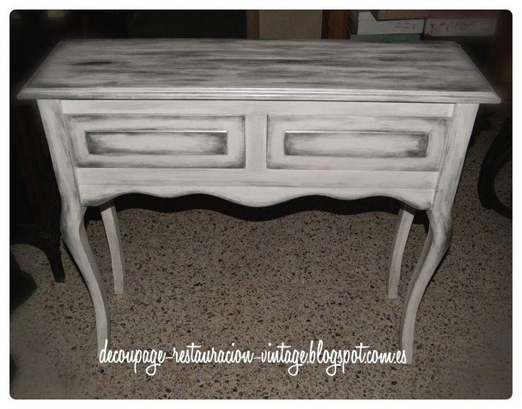 Decoupage, transfer y otras técnicas. Restauración de muebles. Tutoriales DIY y craft ideas.: Pintar muebles nuevos de madera. Blanco y plateado.