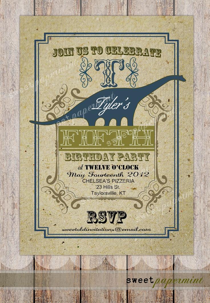 indianjones birthday party invitations printable%0A Vintage Dinosaur Child u    s Boy Girl Birthday invitation Card Printable  Digital  Customizable