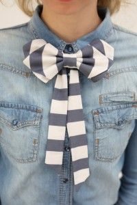 Denim shirt with black & grey bow tie. Learn more about how to wear a bow tie >>> http://justbestylish.com/9-tips-how-to-wear-a-bow-tie-for-women/