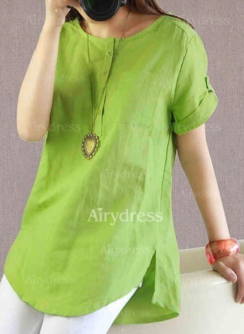 Solid Casual Cotton Round Neckline Short Sleeve Blouses (1036328) @