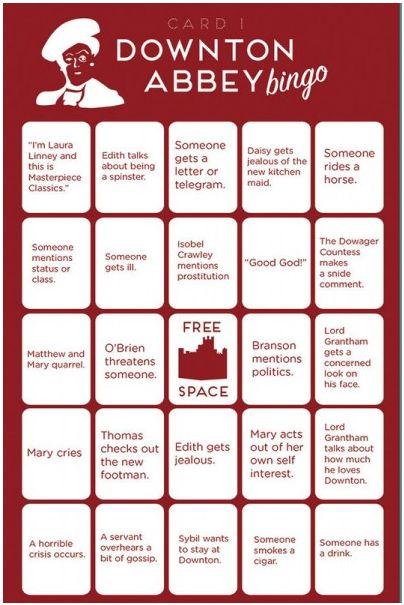 Free, printable Downton Abbey Bingo Cards - makes watching even more fun!@Kristy Haupt