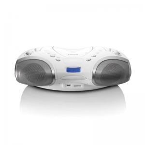 Lenco SCD-10 USB hordozható CD-s rádió (Boombox) - FEHÉR