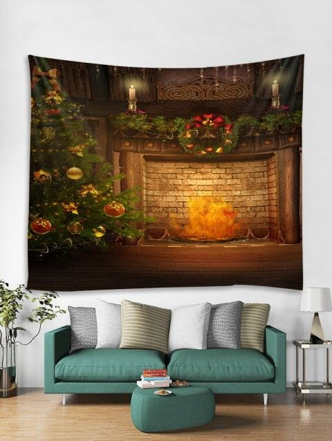 0fca9bc4dd9 Christmas Tree Fireplace Print Tapestry Wall Hanging - multicolor W91 X L71  INCH