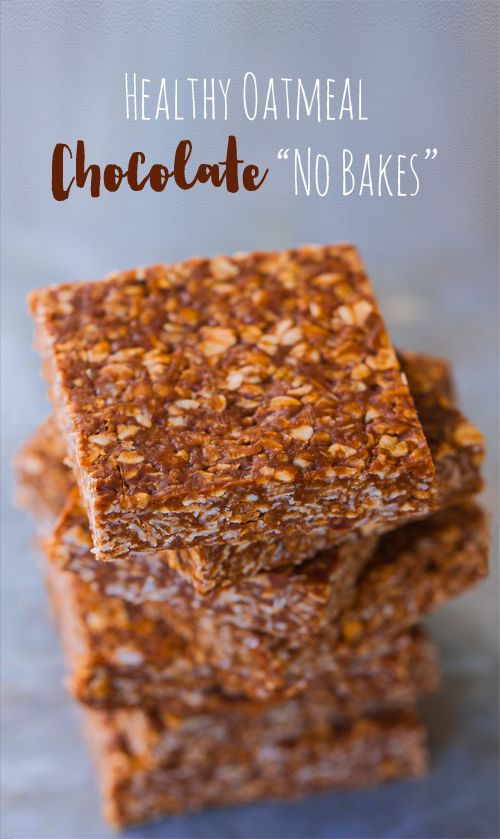 """A """"lightened up"""" version of those classic chocolate oatmeal no bake bars everyone loves so much:  At first glance, traditional chocolate no bake recipes—made with wholesome oatmeal instead of flour—might seem like a healthy choice. But with half a cup of butter and TWO full cups of refined sugar packed into traditional no bake...Read More »"""