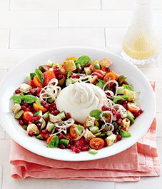 Recipe: Tomato and pomegranate salad with burrata and crispy croutons