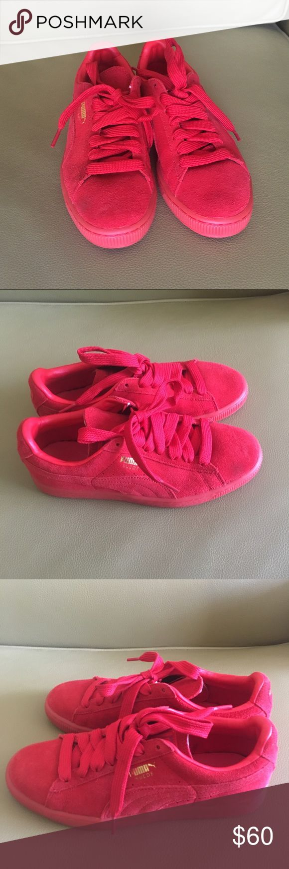 Puma Suede Classic + Mono Iced in Red Only worn once & fits up to a size 6. Look brand new. Puma Shoes Sneakers