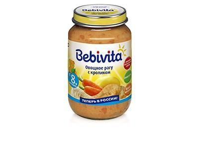 Bebivita Пюре Овощное рагу с кроликом с 8 мес. 190 г  — 80р. ---  Bebivita Пюре овощное рагу с кроликом приготовлено с заботой – из лучших ингредиентов, которые может дать природа.   Особенности: С низким содержанием соли – для нежного натурального вкуса Кукурузное масло – источник ценных ненасыщенных жирных кислот Омега-6, которые важны для сбалансированного питания Не содержит молочный белок Без ароматизаторов Без консервантов Без красителей Без глютена Без ГМО Богато железом – важным…
