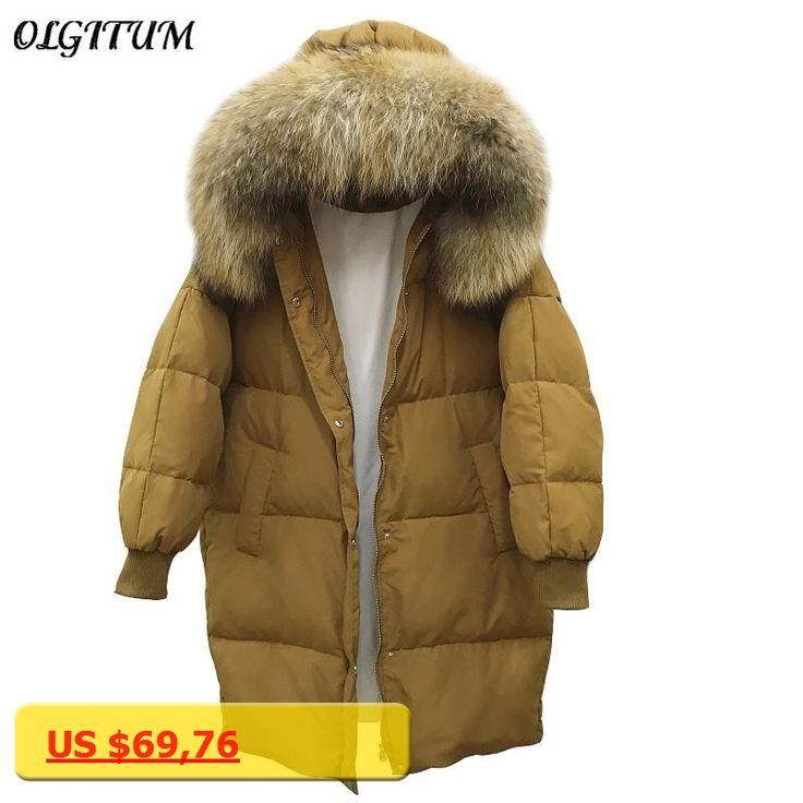 Winter New oversize fur collar hooded coat ultra light duck down jacket Women long warm Snow lichen loose maternity jacket parka