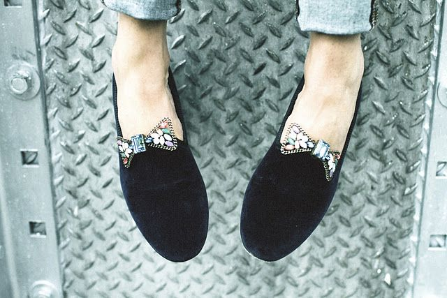 Loafers with bows.