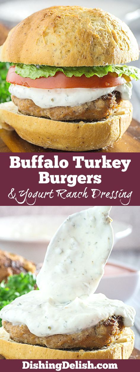 Buffalo Turkey Burgers & Greek Yogurt Ranch Dressing are the perfect way to use high protein ground turkey. They're mixed with buffalo sauce and spices, grilled to perfection, and smothered with an amazing greek yogurt ranch dressing. You'll never want to eat an average turkey burger again!
