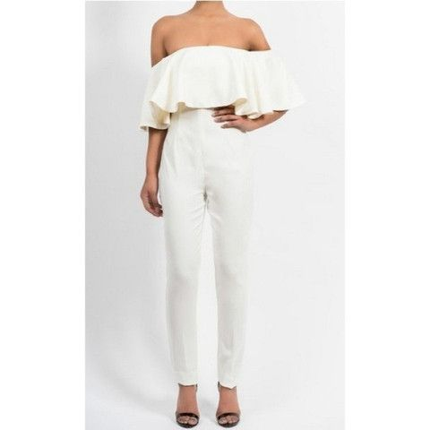 New White Ruffle Jumpsuit now available now at Ruby Liu! ♡ http://rubyliuboutique.com/collections/jumpsuits
