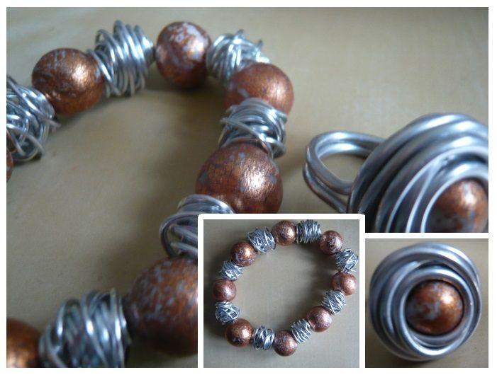 Handgemaakt sieraden setje, ring en armband van aluminiumdraad kraaltjes en fimo - klei kraaltjes meer op www.feliva.nl