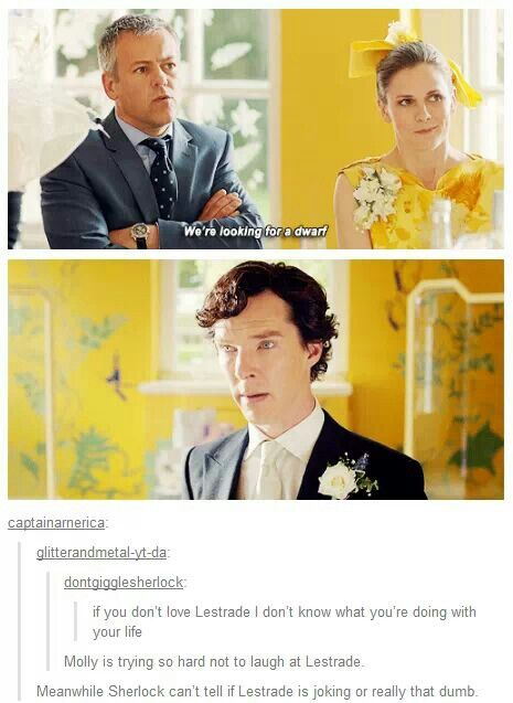 Oh Lestrade>>> Molly is laugh and Sherlock is having flash backs of John and all the dwarfs stealing his treasure! Lol XD