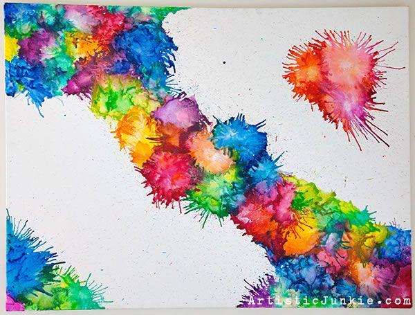 Una nueva y muy atractiva técnica para preparar cuadros decorativos utilizando crayones y un secador de pelo o pistola de calor...