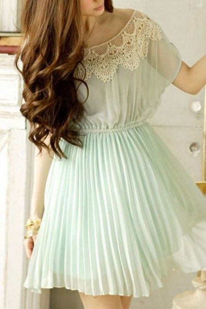 love the dress and the hair: Mint Green, Dreams Closet, Color, Lace Collars, Mint Dresses, The Dresses, Chiffon Dresses, Lace Dresses, Green Dresses