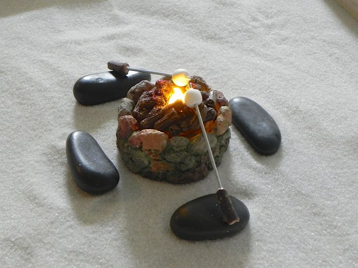 Fairy Garden Fire Pit accessories firepit with flickering tea light 'flame' - 2 marshmallow toasting sticks 4 stone benches miniature by TheLittleHedgerow on Etsy https://www.etsy.com/listing/233788136/fairy-garden-fire-pit-accessories