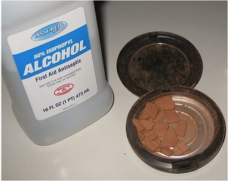 fix broken pressed powder by pouring a little rubbing alcohol, break up the chunks & let it sit overnight.  Alcohol evaporates and the powder is intact-totally works!!!