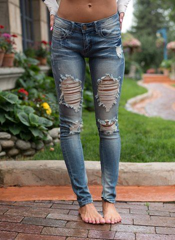 Trendy Mid-Waisted Hole Design Bodycon Women's Jeans Jeans | RoseGal.com