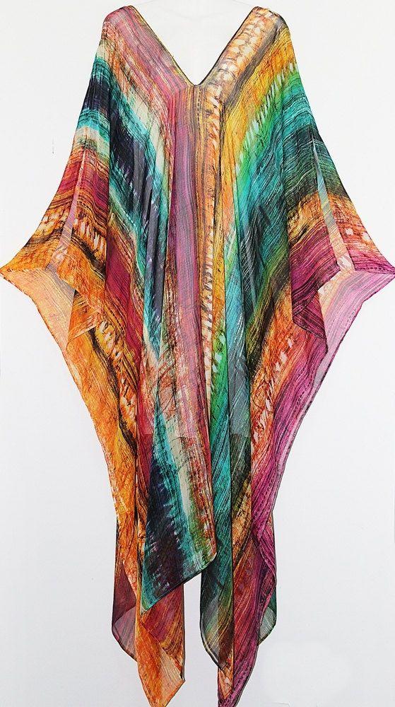 Rainbow Stripe Full Length Pure Silk Chiffon by MollyKaftans.