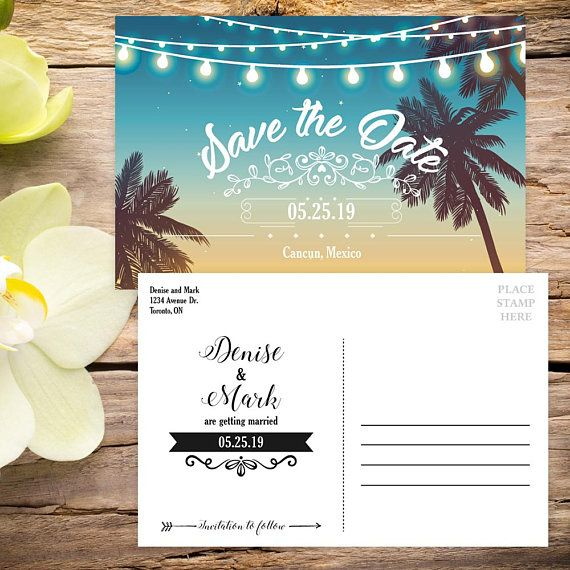 Beach Wedding Invitation Ocean And Sand In The Background Printable File Jpg Or Wedding Reception Invitations Beach Wedding Invitations Beach Theme Wedding