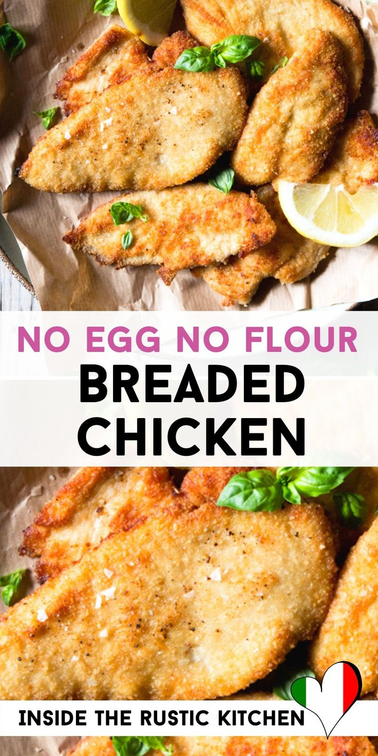 Breaded chicken cutlets no flour no egg inside the