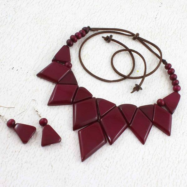 Purple Diamond Statement Necklace Set made of Tagua Nut ❤ liked on Polyvore featuring jewelry, necklaces, diamond necklace set, purple statement necklace, diamond bead necklace, beaded jewelry and statement necklaces