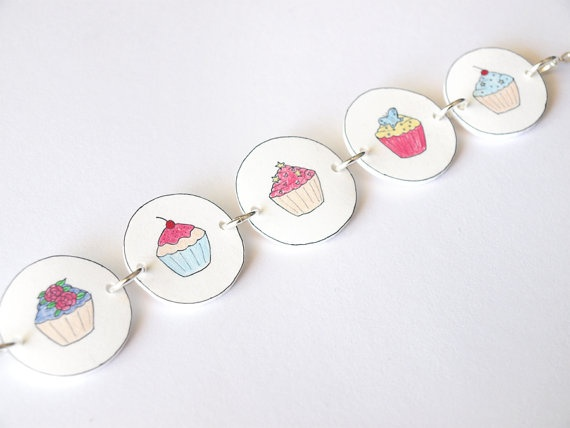 Hand Drawn Cupcakes Bracelet, made from durable shrink plastic ... lovely & a cool idea!  (etsy item)