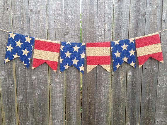 4th of July American Flag Burlap Banner by PatrioticByDesign, $14.00