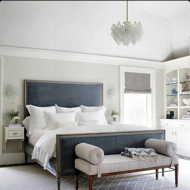 Best A Luxe Blue Headboard Stands Out In A White Bedroom 400 x 300