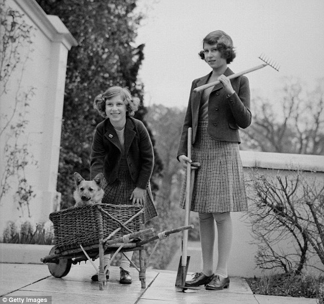 Hands on: Princess Margaret Rose and Princess Elizabeth on a terrace of the Royal Lodge, Windsor with gardening equipment and a pet corgi dog