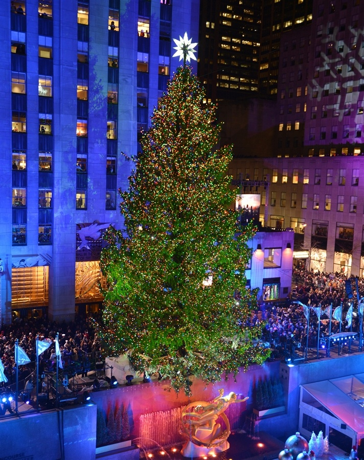 Spruce up: The Rockefeller Center Christmas tree is lit (Photo: Stan Honda / AFP - Getty Images)Center 2012, 2012 Christmas, Favorite Places, Center Christmas, Blue Christmas, York Cities, Rockefeller Center, Beautiful Places, Christmas Trees