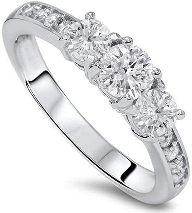 1ct Diamond 3 Three Stone Engagement Ring 10k White Gold Price 429 99 100 Satisf Three Stone Engagement Stone Engagement Rings Three Stone Engagement Rings