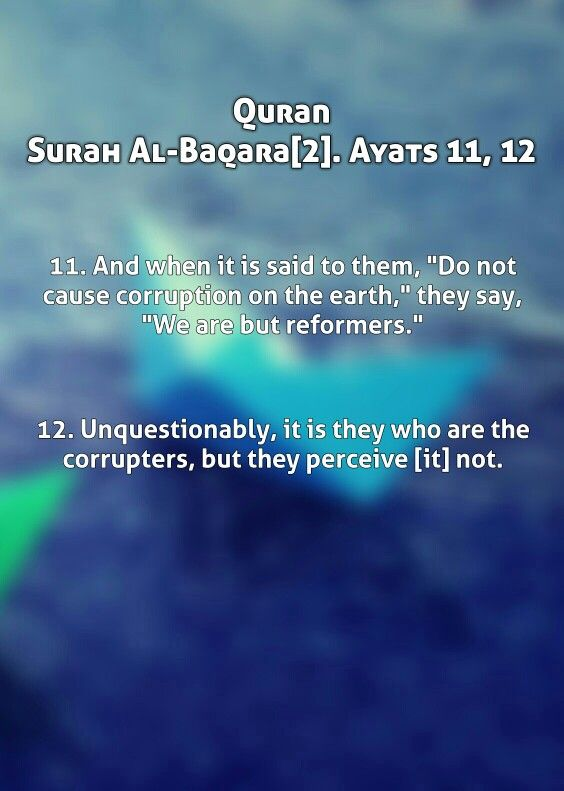 """Quran Surah Al-baqara[2]. Ayats 11, 12 11.And when it is said to them, """"Do not cause corruption on the earth,"""" they say, """"We are but reformers."""" 12. Unquestionably, it is they who are the corrupters, but they perceive [it] not."""