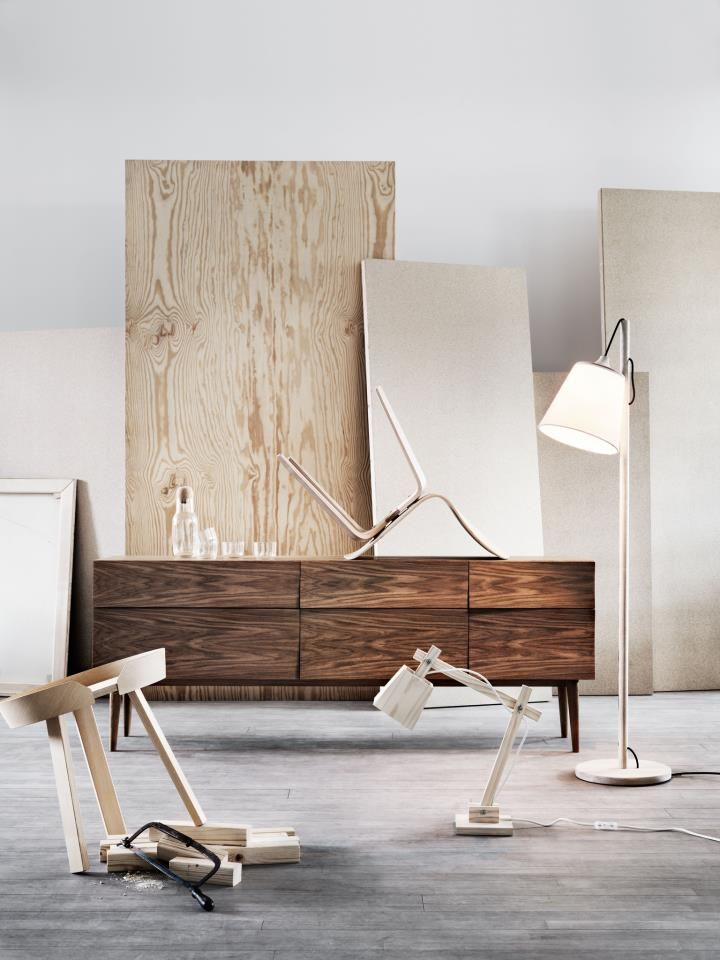 Muuto Reflect Sideboard, Around Coffee Table, Pull Floor Lamp, Wood Lamp, Visu Chair, Corky Carafe and Glasses