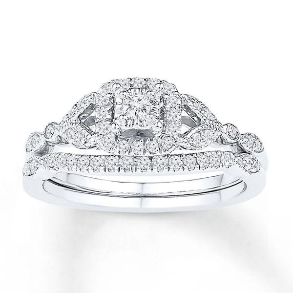 Diamond Bridal Set 1 3 Carat Tw 10k White Gold Kay Kay Jewelers Bridal Sets Diamond Bridal Sets Bridal Ring Sets