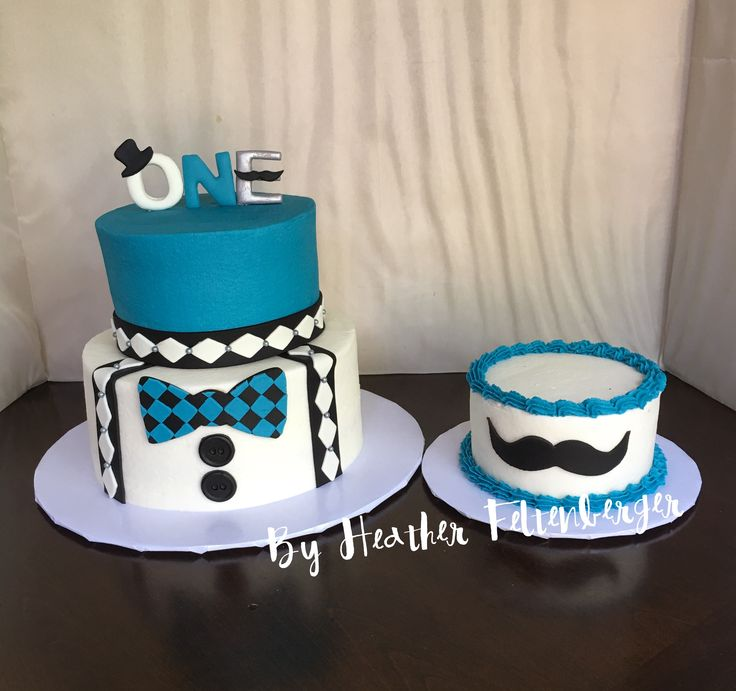 Little Man 2tier 1st birthday cake and smash cake